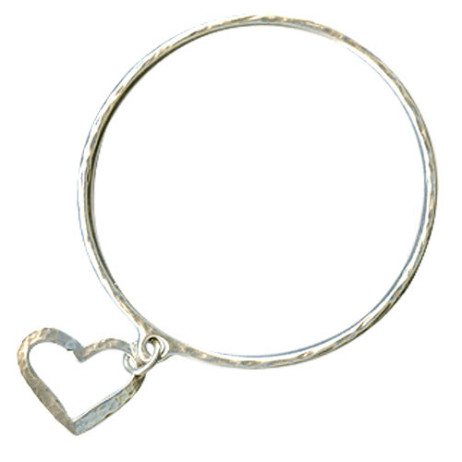 Danon Silver Bangle With Open Heart