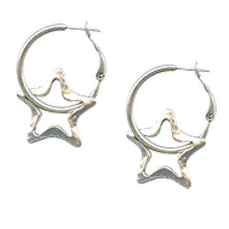 Danon Silver Open Star Hoop Earrings