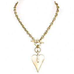 Danon Bronze Chunky Large Signature Heart Necklace