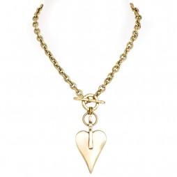 Danon Bronze Chunky Large Signature Heart Necklace