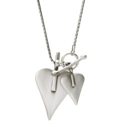 Danon Double Heart Long Silver Necklace