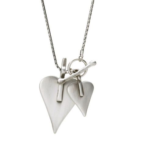 Danon Double Heart Long Silver Necklace