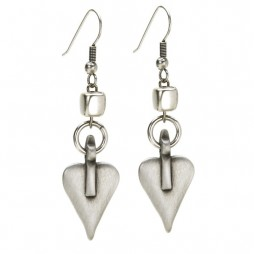 Danon Silver Cube and Heart Earrings