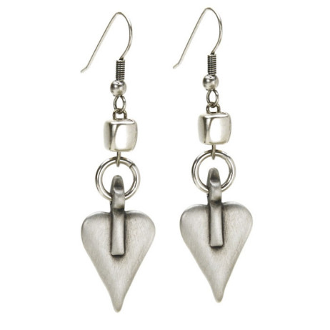 Danon Silver Cube and Heart Earrings *