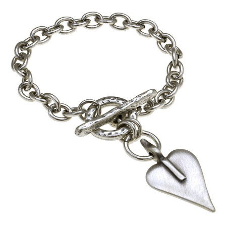 Danon Silver Single Chain Bracelet With Heart