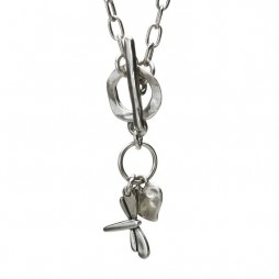 Danon Necklace With Silver Dragonfly and Heart Charm