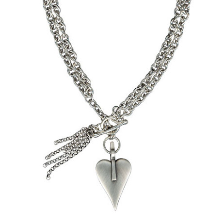 Danon Silver Large Heart and Tassel Chunky Long Necklace