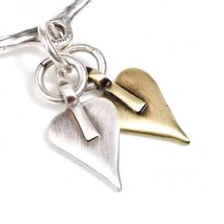 Danon Double Signature Heart Bangle Silver and Bronze