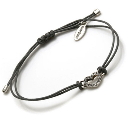 Hultquist Macrame Crystal Heart Cord Bracelet (Silver & Grey)