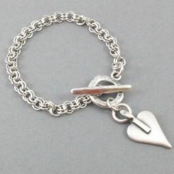 Danon Mini Heart Double Links Silver Bracelet