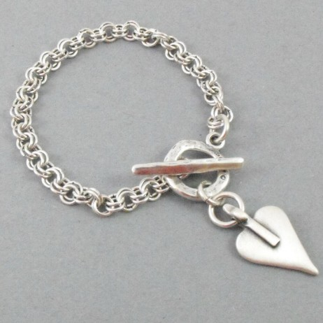 Danon Mini Heart Double Links Silver Bracelet