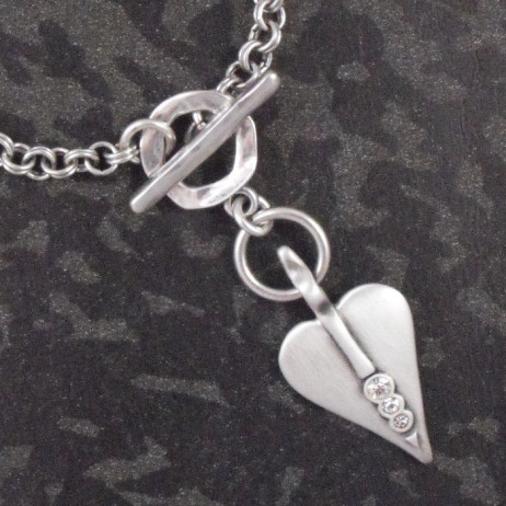 Danon Silver Links Bracelet With Swarovski Crystals Signature Heart *