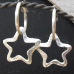 Danon Silver Open Star Hoop Earrings