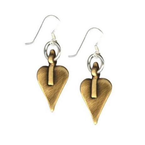 Danon Bronze Signature Heart Drop Earrings on Silver Hook