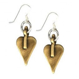 Danon Bronze Signature Heart Drop Earrings on Silver Hoop and Hook