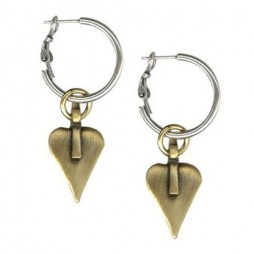 Danon Jewellery Gold Heart Silver Hoop Earrings