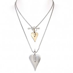 Danon Double Signature Heart Necklace Large Silver Small Bronze