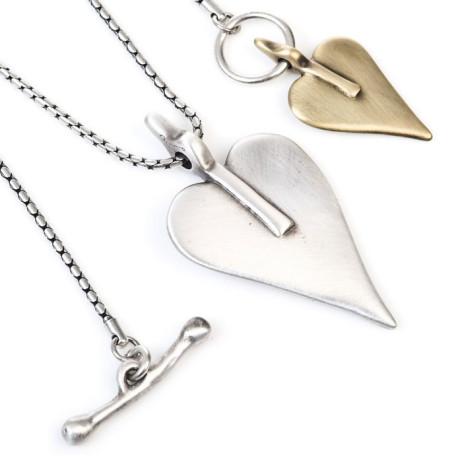 Danon Double Signature Heart Necklace Large Silver Small Bronze
