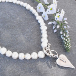 Danon All Pearl Necklace With Silver Heart Pendant