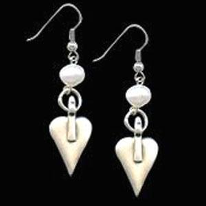 Danon Freshwater Pearl And Silver Heart Drop Earrings