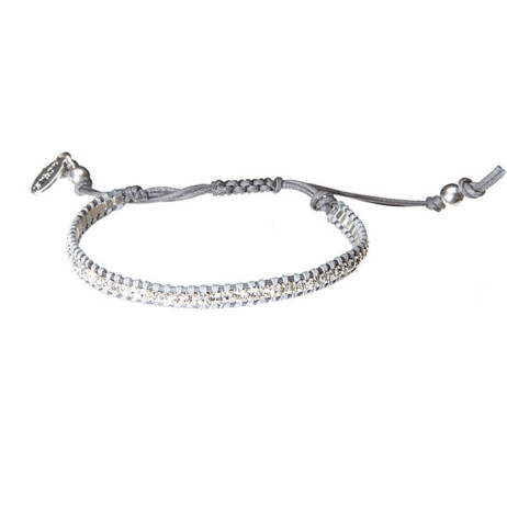 Hultquist Jewellery Hultquist Silver Plated Grey Swarovski Crystals Macrame Bracelet