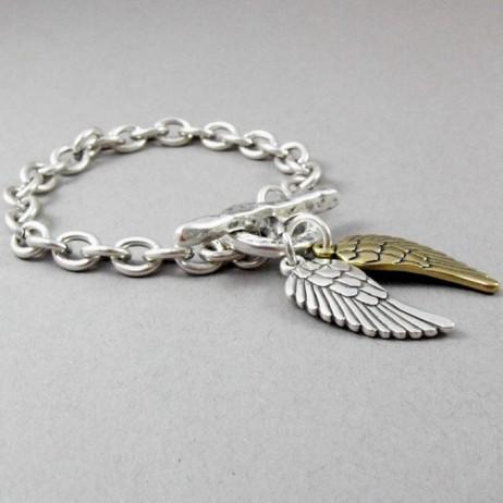Danon Jewellery Silver Single Chain Bracelet with Silver & Bronze Angel Wings