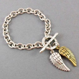 Danon Jewellery Silver Single Chain Bracelet with Silver & Bronze Angel Wings