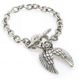 Danon Jewellery Silver Single Chain Bracelet with Silver Angel Wings