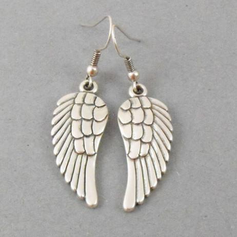 Danon Jewellery Silver Angel Wings Drop Earrings