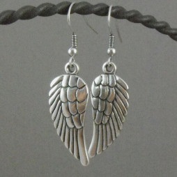 Danon Jewellery Silver Angel Wings Drop Earrings