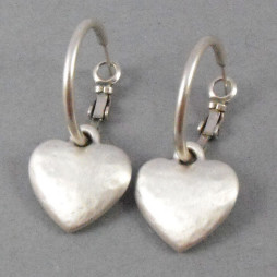 Danon Jewellery - Silver Chunky Heart Hoop Earrings