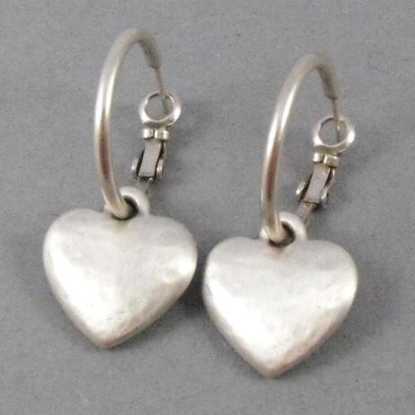 Danon Jewellery Silver Chunky Heart Hoop Earrings