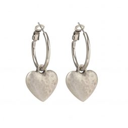 Danon Silver Chunky Heart Hoop Earrings E2699