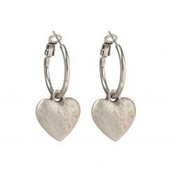 Danon Silver Chunky Heart Hoop Earrings E2699