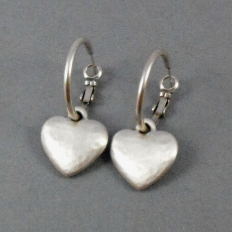 Danon Jewellery Silver Chunky Heart Hoop Earrings