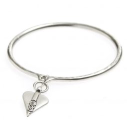 Danon Silver Bangle with Swarovski Crystals Heart Charm