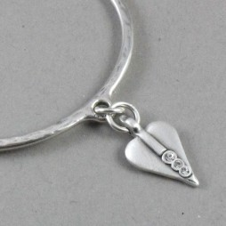 Danon Silver Bangle with Swarovski Crystals Small Heart Charm