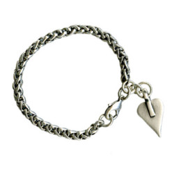 Danon Silver Thick Foxtail Chain Bracelet with Heart Charm