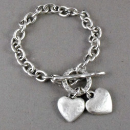 Danon Chunky Hammered Hearts Silver Bracelet