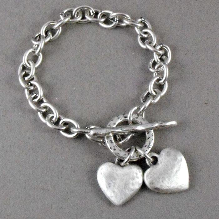 Danon Chunky Hammered Hearts Silver Bracelet