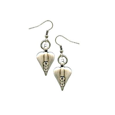 Danon Silver Heart Drop Earrings with Swarovski Crystals