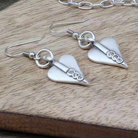 Danon Silver Heart Drop Earrings with Swarovski Crystals