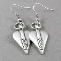 Danon Silver Signature Heart Drop Earrings with Swarovski Crystals