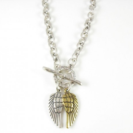 Danon Chunky Short Silver Necklace with Silver and Bronze Angel Wings