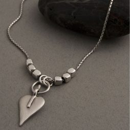 Danon Silver Snake Chain & Cube Necklace with Signature Heart