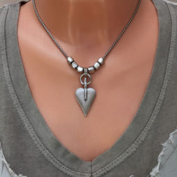 Danon Silver Snake Chain Necklace with Signature Heart & Cubes