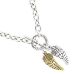 Danon Chunky Short Silver Necklace with Silver & Bronze Angel Wings