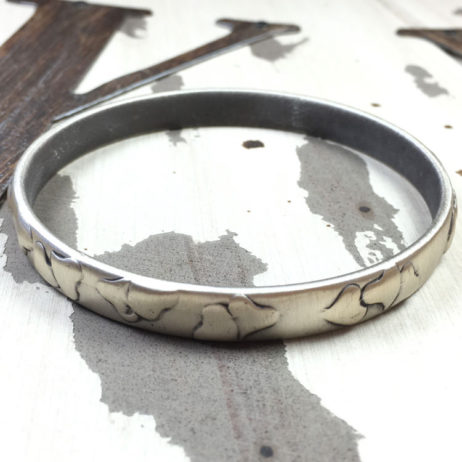 Danon Jewellery Silver Bangle with Heart Pattern - EOL