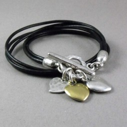 Danon Double Black Leather Hearts Bracelet