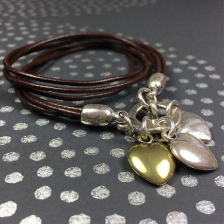Danon Jewellery Leather Hearts Wrap Bracelet